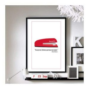 Office space movie red swing line stapler wall art